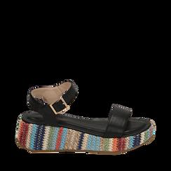 Sandali neri in eco-pelle, zeppa 4,50 cm , Primadonna, 154917199EPNERO035, 001a