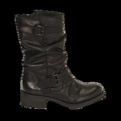 Botas biker de piel en color negro, Primadonna, 167718218PENERO036, 001a