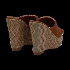 Mules platform cuoio in eco-pelle, zeppa intrecciata 13 cm, Primadonna, 132117214EPCUOI035, 004 preview