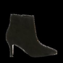 Tronchetti neri in vero camoscio, tacco midi 8 cm, 12D618502CMNERO036, 001a