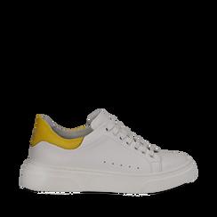 Sneakers bianco/gialle in pelle, Scarpe, 13C300028PEBIGI035, 001a