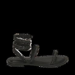 CALZATURA FLAT MICROFIBRA PIETRE NERO, Zapatos, 154928863MPNERO036, 001a