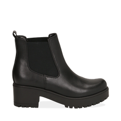 Chelsea boots neri, tacco 6 cm, OUTLET, 162808601EPNERO036, 001a