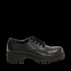 Stringate nere in eco-pelle con lacci in velluto, Scarpe, 140585669EPNERO035, 001a