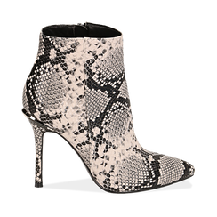 Ankle boots beige/neri effetto snake, tacco 11 cm , Stivaletti, 142182015PTBENE035, 001a