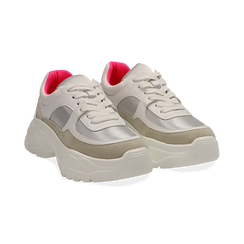 Dad shoes bianche in eco-pelle, zeppa 5 cm ,