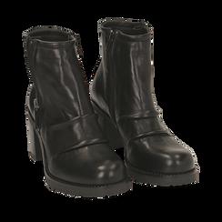 Botas biker de piel en color negro, tacón 7,50 cm , Primadonna, 167734404PENERO035, 002a