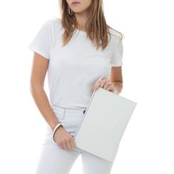 Pochette rettangolare bianca in eco-pelle, Borse, 133732356EPBIANUNI, 002a