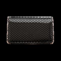 Pochette nera a rete in ecopelle vernice, Borse, 123308810VENEROUNI, 001 preview