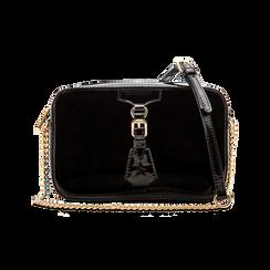 Camera bag nera con tracolla, ecopelle vernice, Primadonna, 121818008VENEROUNI, 001 preview