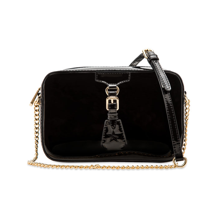 Camera bag nera con tracolla, ecopelle vernice, Primadonna, 121818008VENEROUNI
