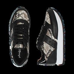 Sneakers bianco/nere stampa pitone, Primadonna, 162619079PTBINE036, 003 preview