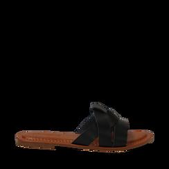 Mules nere in eco-pelle, Saldi Estivi, 133661443EPNERO035, 001a