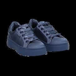 Sneakers celesti in tessuto, suola 4 cm, Scarpe, 142509512TSCELE036, 002 preview