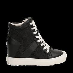 Sneakers nere in ecopelle con zeppa, Scarpe, 132005004EPNERO035, 001a