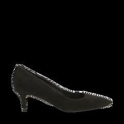 Décolleté nere Kitten heels in vero camoscio, tacco 3 cm, 12D617210CMNERO035, 001a