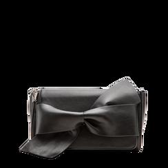 Tracolla nera in ecopelle con fiocco, Primadonna, 122323400EPNEROUNI, 001a