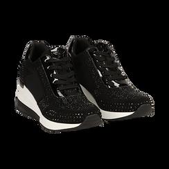 Sneakers nere in lycra con brillantini, zeppa 6 cm , Scarpe, 14A718206LYNERO035, 002 preview