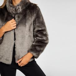 Pelliccia grigia corta eco-fur, manica lunga, Saldi, 12B432301FUGRIGL, 004 preview