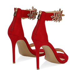Sandali gioiello rossi in microfibra, tacco stiletto 10,5 cm, Scarpe, 132163151MFROSS, 004 preview