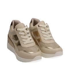 Sneakers beige, cuña 7 cm, Primadonna, 177516594EPBEIG037, 002a