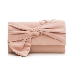 Pochette rosa nude in microfibra con fiocco,