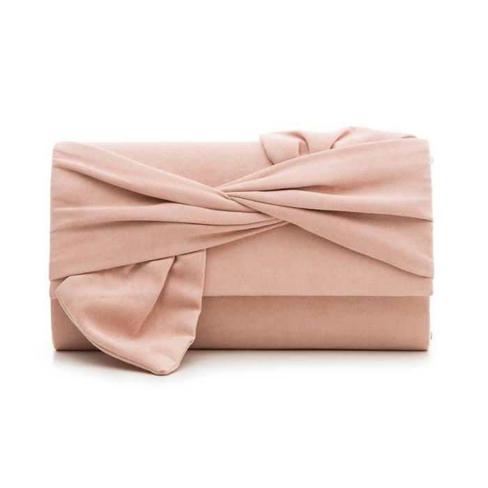 Pochette rosa nude in microfibra con fiocco, Borse, 132300508MFNUDEUNI