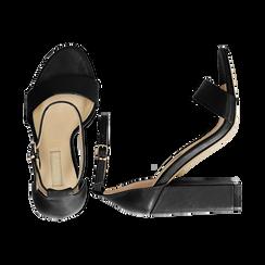 Sandali minimal neri in eco-pelle, tacco 10,5 cm , Sandali con tacco, 132133791EPNERO037, 003 preview