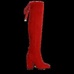 Stivali sopra il ginocchio rossi, tacco 10,5 cm, Primadonna, 122179696MFROSS036, 001a