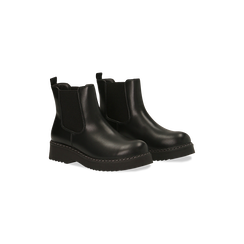 Chelsea Boots neri in vera pelle con tacco basso, Scarpe, 120639020EPNERO, 002 preview