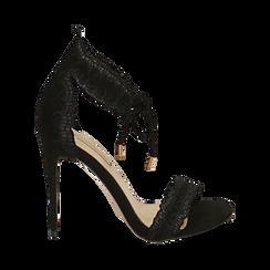 Sandali neri in microfibra, tacco 11 cm, Primadonna, 152122111MFNERO038, 001 preview
