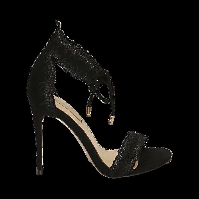 Sandali neri in microfibra, tacco 11 cm, Primadonna, 152122111MFNERO038