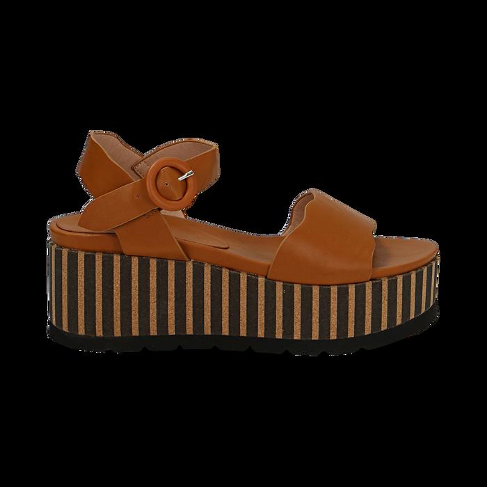 Sandali platform cuoio in eco-pelle, zeppa optical 7,50 cm , Saldi Estivi, 134901231EPCUOI036