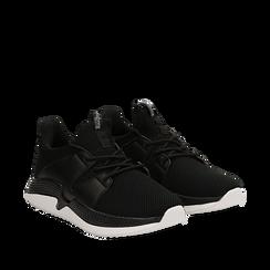 Sneakers nere in tessuto tecnico e suola wave, Scarpe, 132619310TSNERO035, 002a
