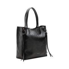 Borsa shopper nera in ecopelle con doppia zip anteriore, Borse, 122300304EPNEROUNI, 003 preview