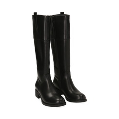Stivali flat neri, tacco 4 cm , Primadonna, 160621686EPNERO035, 002 preview