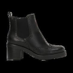 Chelsea Boots neri, tacco 3 cm, Scarpe, 120683012EPNERO, 001 preview