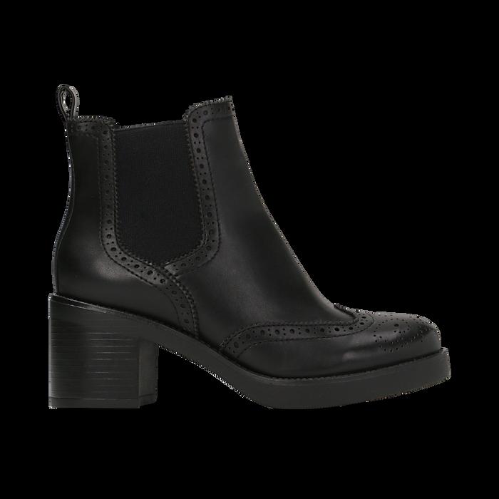 Chelsea Boots neri, tacco 3 cm, Scarpe, 120683012EPNERO