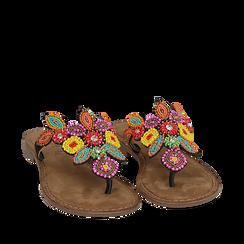 Ciabatte infradito nere in camoscio , Chaussures, 15K808334CMNERO035, 002a