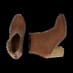 Ankle boots cuoio in pelle intrecciata, tacco 7,50 cm, Primadonna, 15C515018PICUOI036, 003 preview