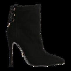 Tronchetti neri con coulisse, tacco stiletto 11,5 cm, Scarpe, 122116005MFNERO, 001 preview