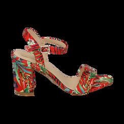 Sandali rossi in raso jungle print, tacco 8 cm, OUTLET, 154900971RSROSS036, 001 preview
