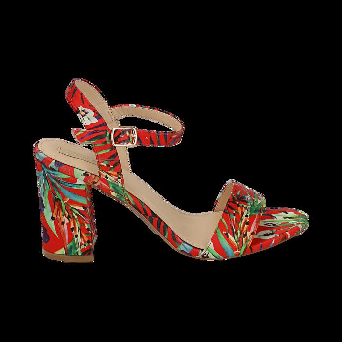 Sandalias en satén con estampado selvático color rojo, tacón 8 cm , OPORTUNIDADES, 154900971RSROSS036