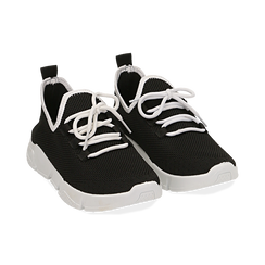 Baskets noir en toile élastique , Chaussures, 159715007TSNERO036, 002 preview