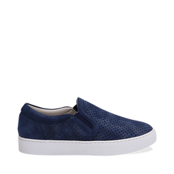 Slip-on blu in nabuk, Scarpe, 131572604NBBLUE035, 001a