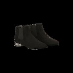 Chelsea Boots neri scamosciati, tacco basso scintillante, Scarpe, 124911285MFNERO036, 002 preview