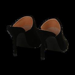 Mules nere in microfibra, tacco 9 cm, Scarpe, 134988743MFNERO036, 004 preview