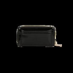 Portafoglio nero in ecopelle vernice con 10 vani, Borse, 125709023VENEROUNI, 002 preview