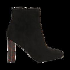 Ankle boots neri in microfibra, tacco tartarugato 9,5 cm , Stivaletti, 142166057MFNERO035, 001a