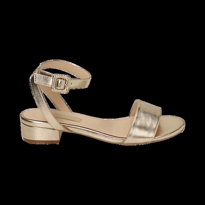 Sandali oro in eco-pelle laminata, Scarpe, 154819193LMOROG036